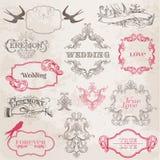 Marcos del vintage de la boda y elementos del diseño Foto de archivo