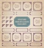 Marcos del vintage, esquinas y elementos caligráficos del diseño Foto de archivo