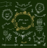 Marcos del vintage y floral handdrawn Imagen de archivo libre de regalías