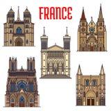 Marcos do curso da arquitetura gótico francesa ilustração do vetor