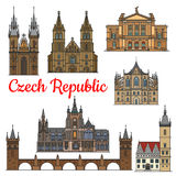 Marcos do curso e monumentos de República Checa Foto de Stock Royalty Free