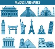 Marcos do mundo Curso e turismo Vetor Fotos de Stock Royalty Free