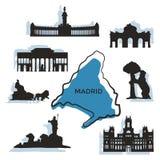 Marcos e monumentos da cidade do Madri Imagens de Stock Royalty Free