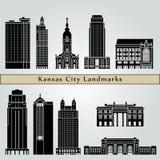 Marcos e monumentos de Kansas City ilustração stock