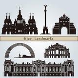 Marcos e monumentos de Kiev ilustração royalty free