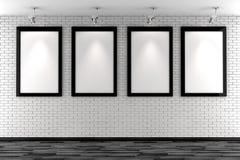 marcos en blanco 3d en una pared de ladrillo blanca libre illustration