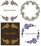 Marcos florales decorativos fijados Fotos de archivo libres de regalías