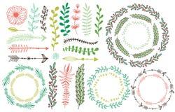 Marcos florales dibujados mano Prospere los elementos decorativos Decoraci?n floral para la tarjeta de la invitaci?n Hojas, ramas stock de ilustración