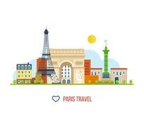 Marcos franceses Torre Eiffel, Notre Dame dentro ilustração do vetor