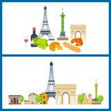 Marcos franceses Torre Eiffel, Notre Dame em Paris, França ilustração do vetor