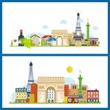 Marcos franceses Torre Eiffel, Notre Dame em Paris, França ilustração stock