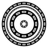 Marcos geométricos circulares de las fronteras con la impresión rectangular Foto de archivo