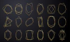Marcos geométricos del oro para casarse de oro de lujo de la tarjeta de la invitación en forma del diamante Extracto de la hoja d libre illustration