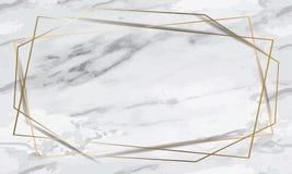 Marcos geométricos del oro romántico del día que se casa, hojas del eucalipto, follaje en la tabla de mármol, visión superior libre illustration
