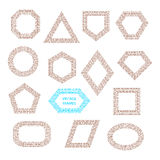 Marcos geométricos del vintage del vector fijados Imagen de archivo libre de regalías