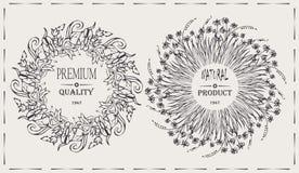 Marcos naturales con el producto natural de la firma, calidad superior del vector elegante Imágenes de archivo libres de regalías