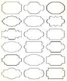 Marcos negros adornados decorativos del vector en blanco Imagenes de archivo