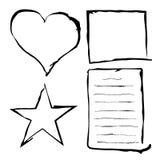 Marcos negros del grunge, frontera áspera, hoja de papel abstracta, líneas, corazón y estrella stock de ilustración