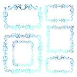 Marcos ornamentales del vector del vintage Invierno caligráfico azul nueva Y stock de ilustración