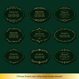 Marcos ovales de oro del vintage fijados Fotografía de archivo