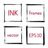 Marcos pintados a mano de la tinta Imagen de archivo libre de regalías