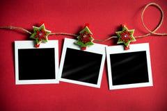 Marcos polaroid de la foto de la Navidad Fotografía de archivo libre de regalías
