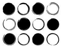 Marcos redondos de la tinta negra Imagenes de archivo
