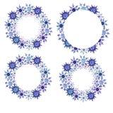 Marcos redondos de los copos de nieve de la acuarela fijados ilustración del vector