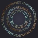 Marcos redondos futuristas de Techno Contexto oxidado del metal Fondo del vector stock de ilustración
