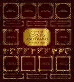 Marcos retros de oro, esquinas y elementos caligráficos del diseño Fotografía de archivo libre de regalías