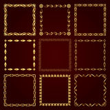 Marcos retros decorativos de oro - sistema del vector Imagen de archivo libre de regalías