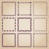 Marcos retros decorativos - sistema caligráfico del vector Imagen de archivo