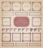 Marcos retros, esquinas y elementos caligráficos del diseño Fotografía de archivo libre de regalías