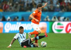 Marcos Rojo and Daryl Janmaat Coupe du Monde 2014 Royalty Free Stock Photos