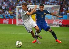 Marcos Rojo and Thomas Muller Coupe du monde 2014 Royalty Free Stock Image