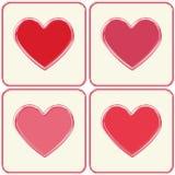 Marcos rojos y rosados de los corazones fijados. Foto de archivo libre de regalías