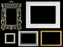 Marcos vacíos decorativos de la vendimia y del oro Imagenes de archivo
