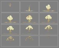 Marcos verticales de la animación del efecto especial de la explosión de la niebla Fotos de archivo libres de regalías