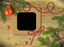 Marcos y árbol de navidad de la foto de la vendimia Fotografía de archivo libre de regalías
