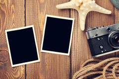 Marcos y artículos del viaje y de la foto de las vacaciones Fotografía de archivo libre de regalías