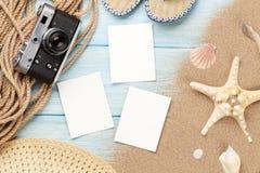 Marcos y artículos del viaje y de la foto de las vacaciones Imágenes de archivo libres de regalías