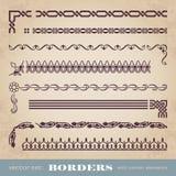 Marcos y fronteras caligráficos con los elementos de la esquina - sistema del vector Fotografía de archivo