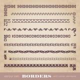 Marcos y fronteras caligráficos con los elementos de la esquina - sistema del vector Imagen de archivo