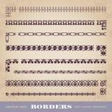 Marcos y fronteras caligráficos con los elementos de la esquina - sistema del vector Foto de archivo libre de regalías