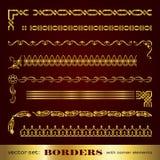 Marcos y fronteras caligráficos de oro con los elementos de la esquina - sistema del vector Fotografía de archivo libre de regalías
