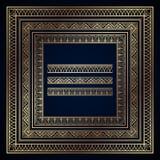 Marcos y fronteras del art déco del oro en fondo azul marino ilustración del vector