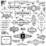 Marcos y ornamentos del vintage fijados Imagen de archivo libre de regalías