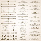 Marcos y sistema de elementos caligráficos de la frontera Foto de archivo libre de regalías