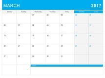 2017 Marcowy kalendarz & x28; lub biurka planner& x29; z notatkami Fotografia Royalty Free