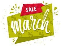 Marcowy sprzedaży zieleni plakat Sprzedaży wiosny sztandar, Odizolowywający Na Białym tle wektor ilustracji